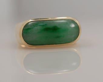 Vintage Jade Cabochon Ring 14k Yellow Gold Jadeite Green Band Wedding Stackable