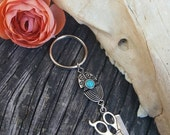 Offbeat Silver with Turquoise Scissor and Comb Charm Hair Stylist Cosmetology Keychain