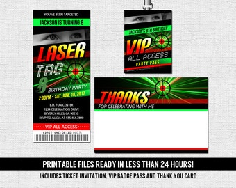 Laser Tag Birthday Party Ticket Invitation + Thank You Card + VIP Pass Lanyard Badge Insert (Printable PDF Files) - Any Age - Neon Lazer Tag