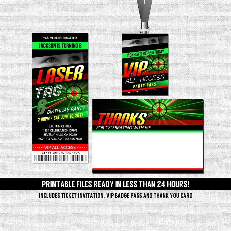 Laser Tag Birthday Party Ticket Invitation Thank You Card