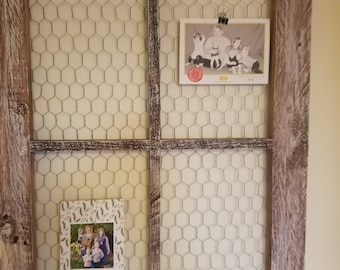 4 panel repurposed wood window with chicken wire