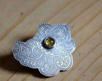 Wedding brooch, paisley sterling silver amber brooch, PERSIAN MOON, statement brooch, wedding silver accessory, yellow stone brooch