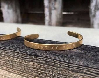 Heart of Gold Handstamped Cuff Bracelet