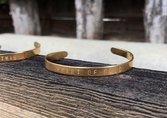 Heart of Gold Handstamped Cuff Bracelet