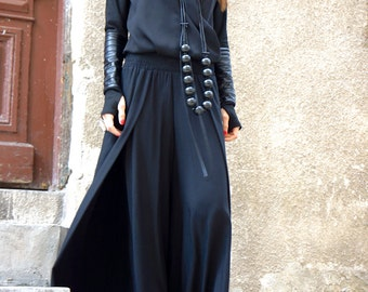New Loose Black Pants / Wide NEW Wide Leg Pants / Soft Light Viscose Textile Trousers/ Side pockets Elastic Waist Pants by AAKASHA A05589