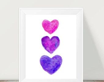 Purple and Pink Print, 11x14 Watercolor Print, Purple and Pink Hearts, Purple and Hot Pink Girl's Room Decor, Purple and Pink Print
