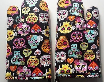 Sugar Skull Full Color Oven Mitt , Day of the Dead, Chef, Cookware, Kitchen Accessory
