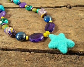 Beaded Necklace, purple necklace, blue necklace, purple, statement necklace, boho necklace, purple and blue, gift for her, unique necklace