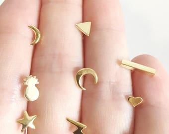Bottled Pick your 2 Stud Earring Set, Gold Stud Earring, Hawaii Jewelry, Custom Stud Earring, Choose Stud Earring, Mismatched Earring, Gift