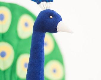 Faux taxidermy peacock bird animal head wall decor