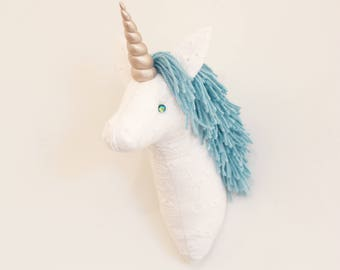 Faux taxidermy small white unicorn head wall decor Hunting Trophy animal head white cotton lace aqua light teal turquoise mane