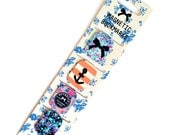 Set of 4 Magnetic Bookmarks with Flowers / Anchor