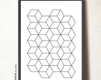 Printable Art Cubes Wall Linear Art, GEOMETRIC Art. Cubes poster, Affiche Scandinave. Minimalist Art Print TANGRAMartworks. Instant Download