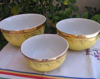 HALL CHINA Superior Quality Gold Label - Thick Rim 3 Piece Bowl Set - 22 Carat  Gold - Mid-Century