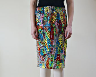 Vintage 1990s roberto cavalli freedom funky mesh skirt | haute couture skirt | pencil skirt | abstract skirt | made in Italy