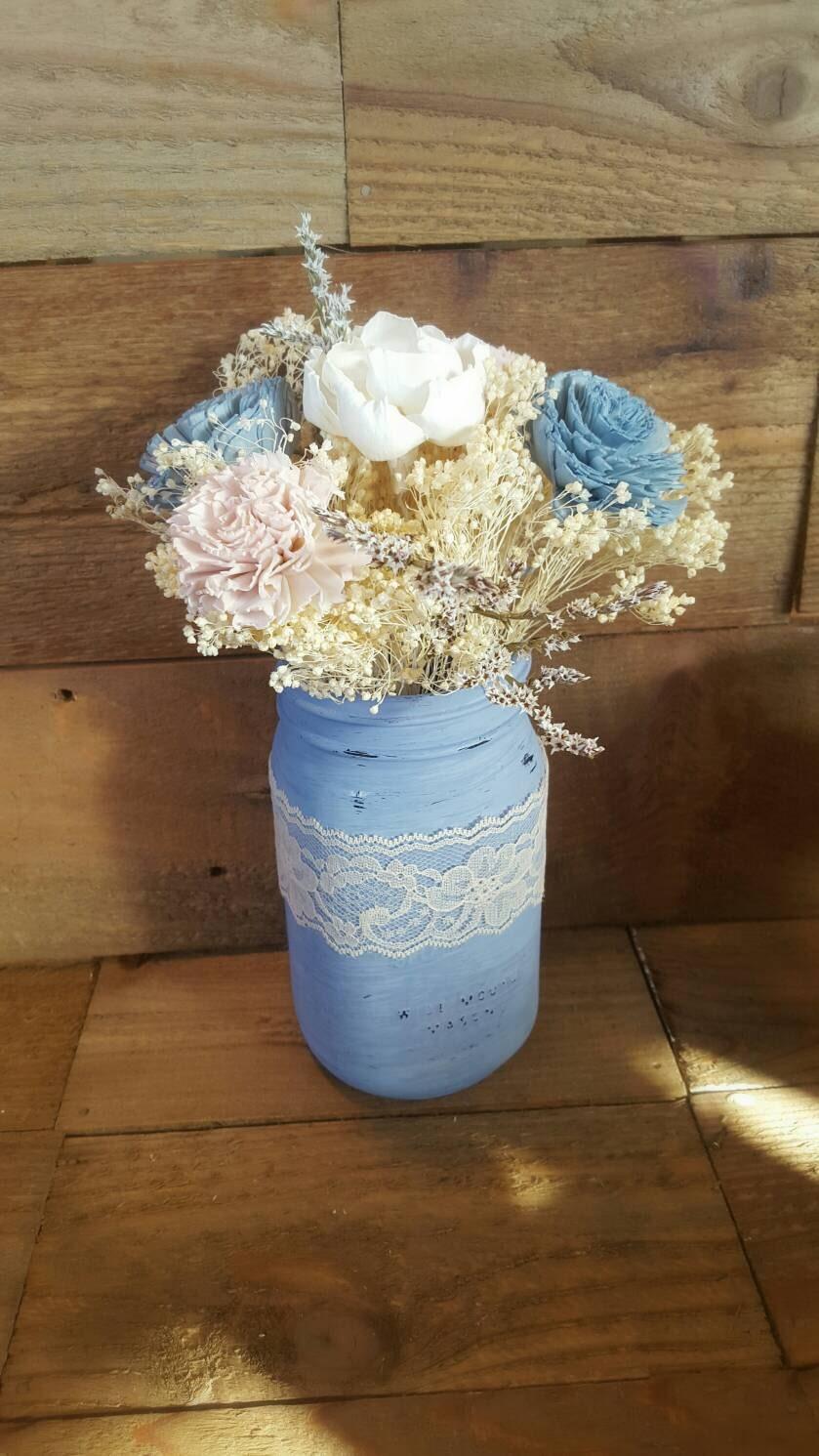 Powder Blue Centerpiece : Wedding centerpiece slate steel powder blue blush pink ivory
