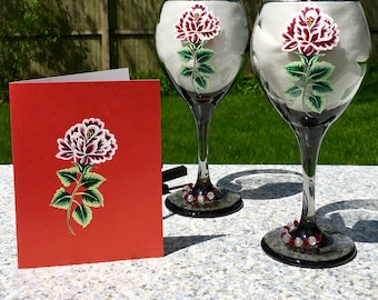 Wine Glasses and Matching Card Hand Painted Red and White Roses Gift Set, Birthday Gift, Engagement Gift, Anniversary Gift, Wedding Gift