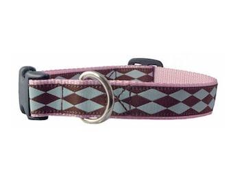 "Argyle Dog Collar 5/8"" or 3/4"" Harlequin Pink Dog Collar"