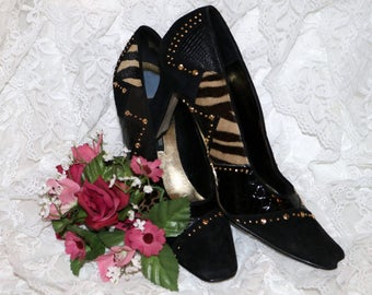J. Renee Pumps - Black Suede - Patent Leather - Animal Print - Size 8N  - Gently Worn - Gold Rivets