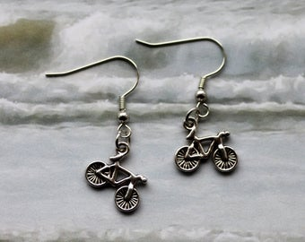 Super cute Earrings with little bikes, bicycle, silver colored, dangling Earrings