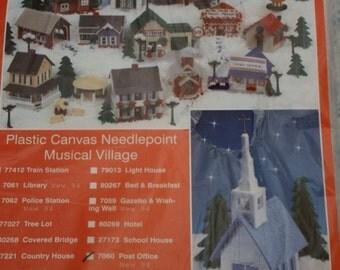Post Office #7060/Plastic Canvas Needlepoint Musical Village/Vintage Kit