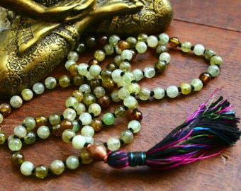 Green Garnet 108 Mala Beads Grossularite Garnet Japa Mala Prayer Beads Yoga Jewelry Buddhist Hindu Kundalini Necklace Spiritual Jewelry Mala