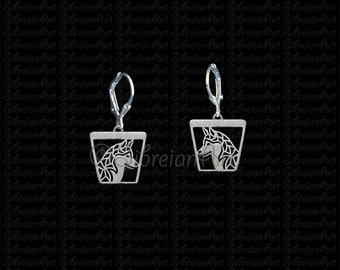 Siberian Husky profile trapeze earrings - sterling silver.