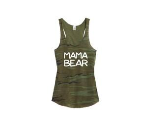 Mama Bear Camo Racer back Tank Top Shirt - Womens Tee. Camoflauge Shirt