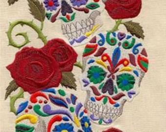 Calavera Sweet Skulls Embroidered Towel | Flour Sack Towel | | Dish Towel | Kitchen Towel | Hand Towel | Goth Decor