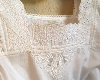 Farm House White Night Gown With Lace And Vintage Buttons