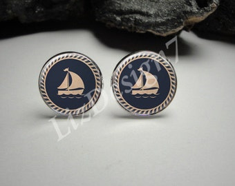Sailboat Cuff Links 20mm/ Sailboat Cufflinks for Him/Men Gift/Gift for Him/ Sailboat Tie Clip