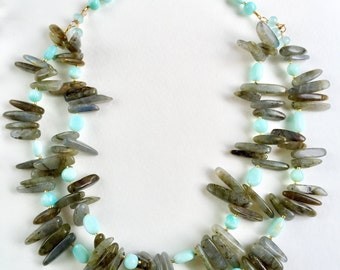 Labradorite and Peruvian Opal Necklace by KarenWhalenDesigns