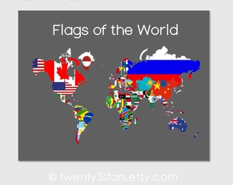 Flags of the World Map Art Canvas or Print, Choose Background, Outline and Text Colors, Flags of each Nation, Atlas Art, World Map of Flags