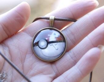 Pokemon Inspired Pokeball Pendants - Mew