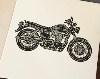 Triumph Bonneville greetings card | Vintage motorbike | Retro | Birthday | Thank you | Linocut print | Handmade |