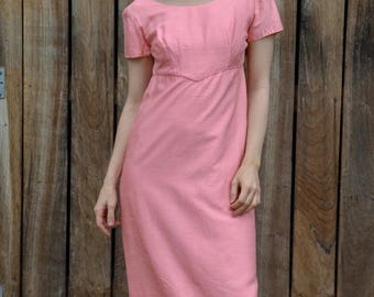 Pink 50's dress vintage bridesmaid prom, evening  raw silk