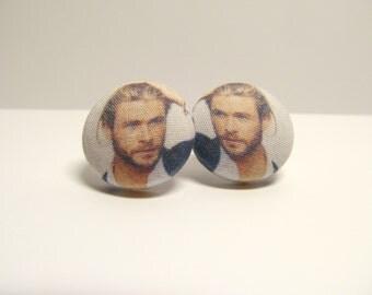 Chris Hemsworth Fabric Button Earrings