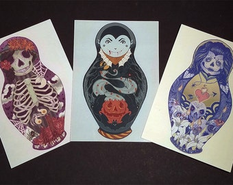 Halloween and Day of the Dead Nesting Doll Matryoshka Doll Postcard Set