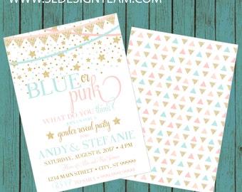 ON SALE! Gender Reveal Invitation, Confetti Gender Reveal Party Invitation, Gender Reveal Invite, gender reveal, baby reveal Blue Pink Gold