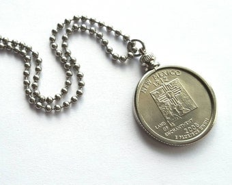New Mexico State Quarter Coin Necklace with Stainless Steel Ball Chain or Key-chain - 2008