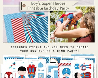 Super Boy Heroes Printable Birthday Party Decorations INSTANT DOWNLOAD