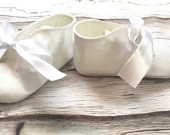 Baby Baptism Booties White Christening booties Baptism shoes Baby Boy Baptism booties White Baby Boy Christening shoes Satin baptism shoes
