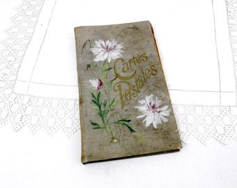 Large Antique French Postcard Album with Hand Painted Flower Pattern, Carte Postale, French Decor, Shabby, Chic, Retro, Home, Photograph