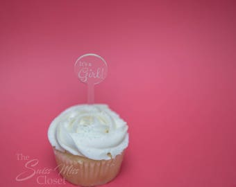 25 Cupcake Toppers It's A Girl! Custom Etched Clear Acrylic, Laser Cut Decor Dessert Baby Shower