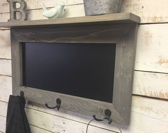 Chalkboard Shelf-Kitchen Chalkboard-chalkboard coat rack-Rustic Chalkboard Shelf-Shelf-Chalkboard-Message Board Shelf-Entryway Chalkboard