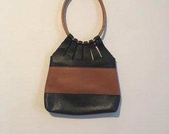 90s cutout handbag, minimalist normcore purse, neutral - vintage -