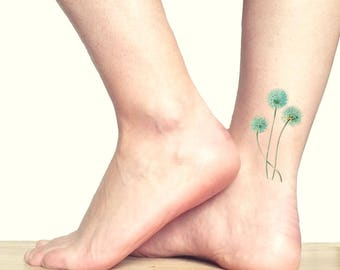 Allium tatuaggio temporaneo medio / tatuaggio da piede caviglia / tatuaggio illustrazione floreale / fiori di aglio vintage tatuaggio finto