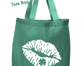 St. Patrick's Day Kiss Me Lips Green Tote Bag