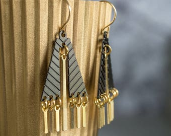 Elegant earrings fringe Statement Earrings,  Dangle Earrings, Gold black  boho earrings, geometric statement earrings.