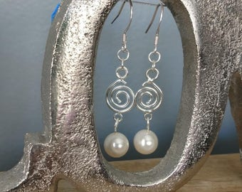 MADE TO ORDER!!! Silver Colored Swirl Drop Pearl Earrings-- Made to Order with your pearls from the Pearl Party!!